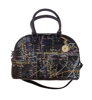 Map Bowler Bag with Token Bling