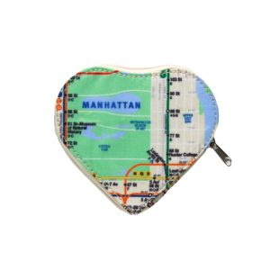 Heart Coin Purse with All-Over Subway Map
