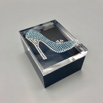 Jewelry box with rhinestone blue high heel shoe