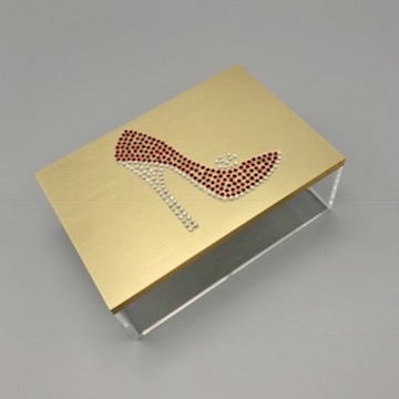 Jewelry box with rhinestone red high heel shoe