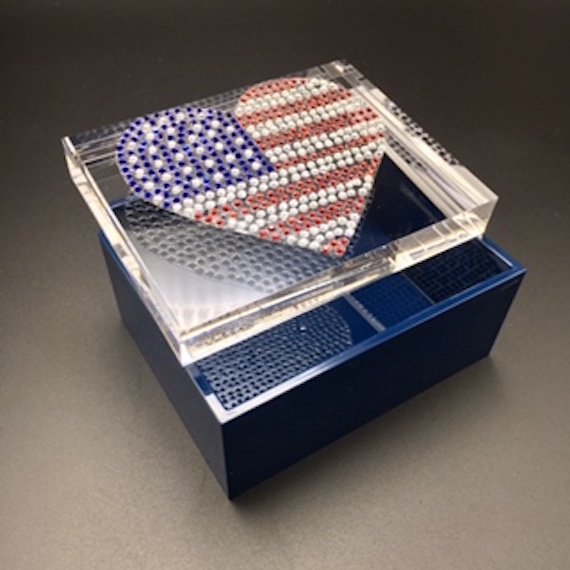 Jewelry box with rhinestone patriotic heart