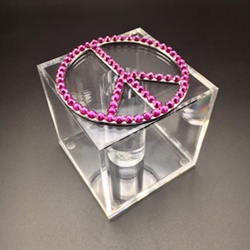 Pink swarovski crystal peace sign bracelet box