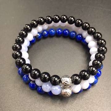 Stacker bracelets with onyx, lace agate and lapis