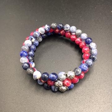 Stacker bracelets with sodalite & pink impression jasper