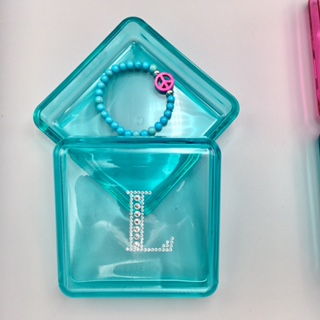 Teal personalized jewelry box with rhinestone initial