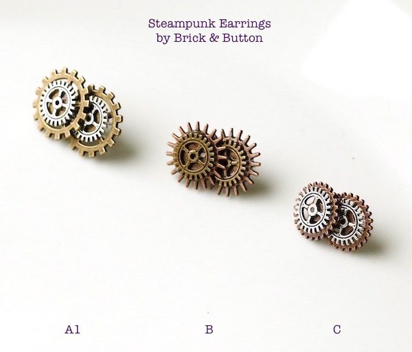 Mixed Metal Gears Steampunk Stud Earrings with Stainless Steel Posts (lead-free, nickel-free post & back)