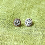 Small copper and silver gear steampunk earrings