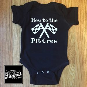 New to the Pit Crew Onesie Bodysuit by Lugnut Designs on Booked Parties