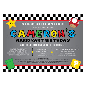 Super Mario Kart Birthday Invitation